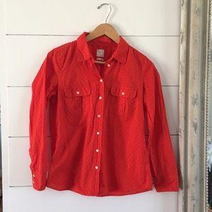 Gap Fitted Boyfriend Red Orange Button-up Blouse
